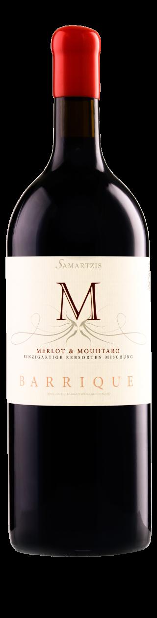 """""""M"""" Samartzis Ερυθρός Barrique Magnum, Merlot-Μούχταρο σε αρμονία, 12 μήνες βαρέλι"""